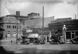 [View of shops in the 300 block Granville Street and C.P.R. Station at 601 Cordova Street West] t...