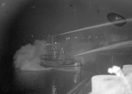 [J.H. Carlisle fireboat in action]