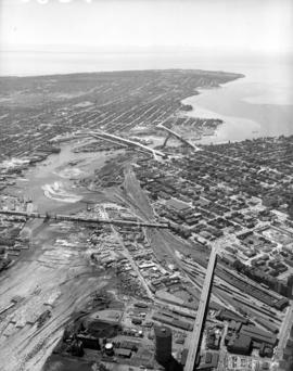 Aerial view of finished bridge (from E.).