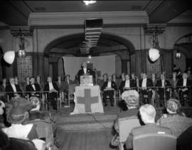 [Man from the Red Cross addressing an audience at the Hotel Vancouver]