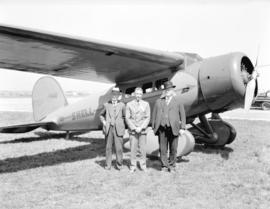Shell Oil Plane at Airport Opening [showing] Premier Tolmie, Mayor Taylor, Pilot McCleary