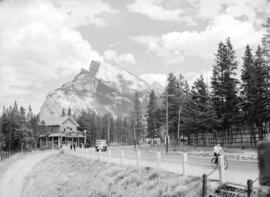 [View of road and Indian store in Banff, Alberta]