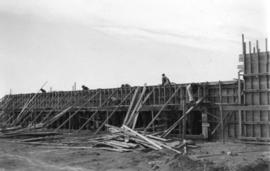 [Job no. 787 : photograph of Lethbridge Municipal Hospital construction site] : east wall, laundry