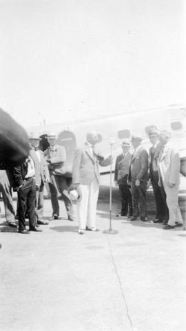 [L.D. Taylor prepares to make speech at the Sea Island Airport for the opening of the United Airl...