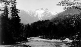 "Capilano River and ""The Lions"" [in the background]"