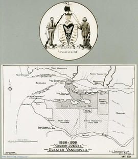 "Vancouver crest and ""Golden Jubilee"" Vancouver map"