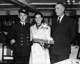 [Captain E.M. Sheppard, Miss Margaret Brain (Miss P.N.E. 1948) and Mr. G. McBean, Managing Direct...