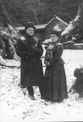 Portrait of Mr. and Mrs. Con Jones in the snow