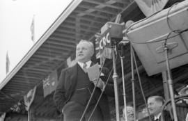 Premier of B.C., Duff Patullo at Brockton Point Grandstand during Golden Jubilee opening ceremonies