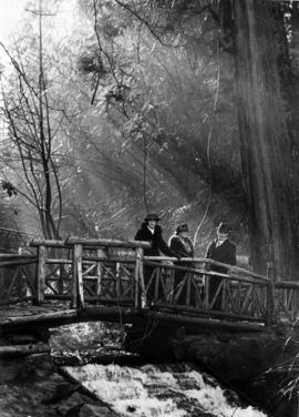 Three people on wooden bridge in Stanley Park
