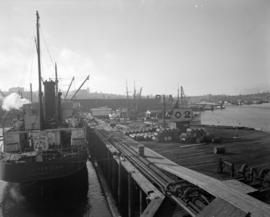 [The 'Brit American' docked at the B.A. Oil Company wharf]