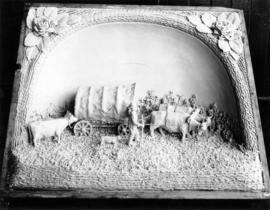 Central Creameries butter carving of a covered wagon