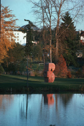 Distant view of David Marshall's sculpture