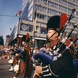 Pipe band at 1970 P.N.E. Opening Day Parade