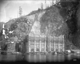 [Partially completed Buntzen Lake Power Plant number two, surrounded by scaffolding]