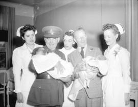 [Lieutenant Governor W.C. Woodward visits Queen Victoria hospital during the] Golden Spike celebr...