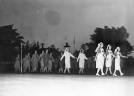 [Nurses march across the stage at a pageant to celebrate Vancouver's Diamond Jubilee at Brockton ...