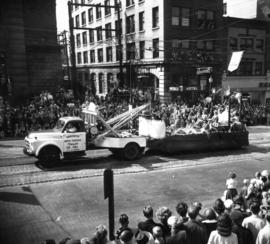 Unidentified tropical-themed float in 1952 P.N.E. Opening Day Parade