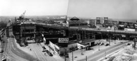 North end and Howe Street ramp [panorama of bridge construction]