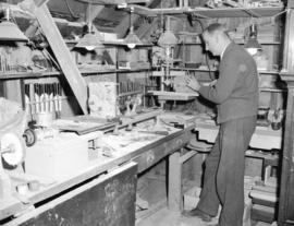 Colonel Broome in workshop