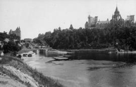 [View of the Parliament Buildings across the Ottawa River]