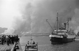 [View of fire at Pier D]