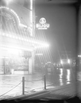 [Illuminated sign of the Bijou Theatre, 333 Carrall Street]