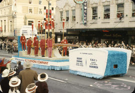 48th Grey Cup Parade, on Georgia and Howe, UBC's oarsmen float