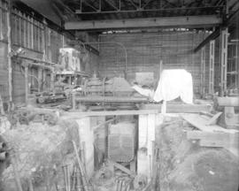 [Interior view of partially constructed power station at Brentwood Bay Steam Plant]