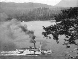 "[View from Prospect Point of the paddlewheel S.S. ""North Pacific"" entering the First Na..."