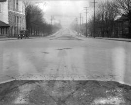 [View of  Burrard Street looking north from Nelson Street showing remnants of the cobblestone sur...