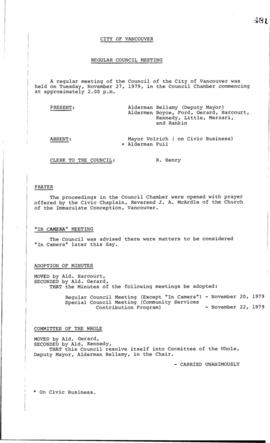 Council Meeting Minutes : Nov. 27, 1979