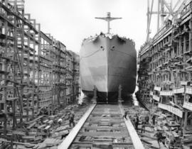 "[Hull No. 104 the ""Carlton"" being launched from West Coast Shipbuilders Limited]"