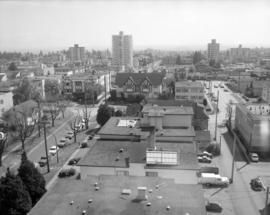[Looking south over the roof tops from 39th Avenue near Yew Street]