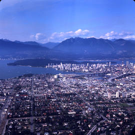 Aerial view of Vancouver : looking north west; Arbutus Street to left, Burrard Street to right an...