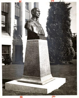 Bust of Mayor McGeer outside of Vancouver's City Hall