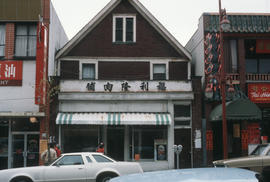 Fook Lee Lung Butcher storefront at 259 East Pender Street