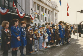 Brownies, Girl Guides and Beaver Scouts lined up to greet Jeanne Sauvé at Pacific Central Station