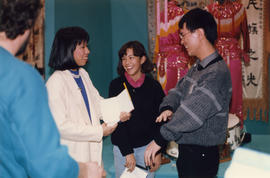 Ramona Mar, Kimberly Kong and Paul Yee at the Saltwater City exhibit