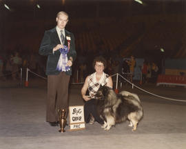 Best in Group [Non-Sporting Group: Keeshond] award being presented at 1976 P.N.E. All-Breed Dog Show