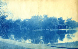 [View of lagoon and small building at Lincoln Park, Chicago Illinois]