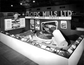 Pacific Mills display of paper and wood products