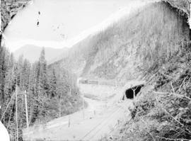 Snow shed and tunnel, Illecillewaet Canyon, Selkirk Mts.