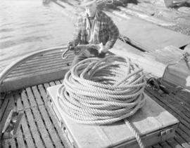 [Coil of rope on boat at] Pacific Mills [on the] Queen Charlotte Islands