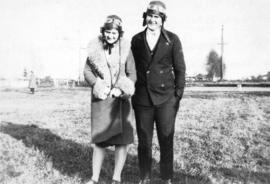 [Mr. and Mrs. Gerald Ashthorpe on airfield at Lansdowne Park on Lulu Island]