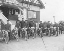 [Point Grey Police Motorcycle Squad in front of the Municipal Hall]