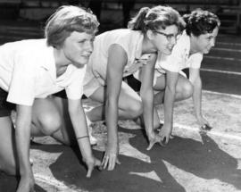 Girls on their marks in Empire Stadium