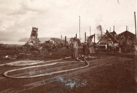 [People view the destruction after the fire at Hastings Sawmill]