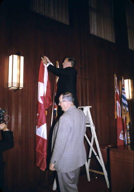 City Hall; Putting up New Flag - Council Chamber