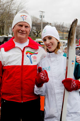 Day 18 Father and daughter dressed in Calgary 1988 and Vancouver 2010 Torchbearer outfits at Sydn...
